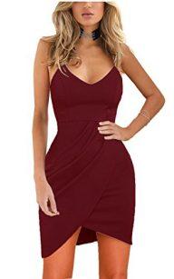 Zalalus Women's Elegant Spaghetti Straps Deep V Neck Sleeveless Bodycon Party Dress