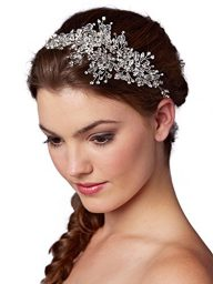 Mariell Couture Crystal Spray Bridal Headpiece Hair Vine – Wedding Hairband Glam