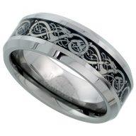 Sabrina Silver Tungsten Carbide 8 mm Flat Wedding Band Ring Inlaid Celtic Dragon Pattern Beveled Edges, Sizes 7 to 14