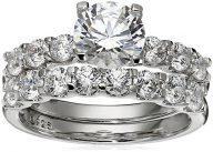 Platinum-Plated Sterling Silver Swarovski Zirconia Round-Cut Bridal Set