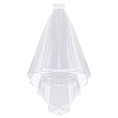 2 Pack Bride Veil, Wedding Bridal Veil With Comb White Double Ribbon Edge