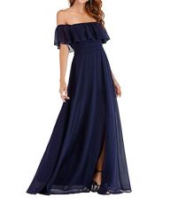 Umissy Women's Off Shoulder Split Bridesmaid Dresses Long Chiffon Formal Prom Gowns