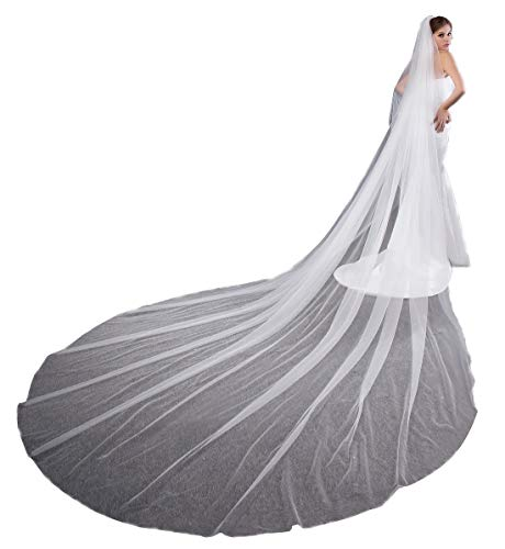 EllieHouse Women's 2 Tier Simple Wedding Bridal Veil With Comb L11