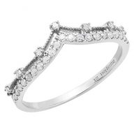 Dazzlingrock Collection 0.25 Carat (ctw) 10K Gold Round Diamond Ladies Chevron Wedding Band 1/4 CT