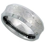 Sabrina Silver Tungsten Carbide 8 mm Concaved Wedding Band Ring Etched Celtic Dragon Pattern Beveled Edges, sizes 7 to 14