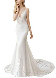 Fenghuavip Spaghetti Straps Wedding Dress Lace Appliques Long Train Beach Bride Gowns