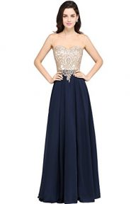 MisShow Sheer Neck Rhinestone Gold Lace Long Formal Evening Gown