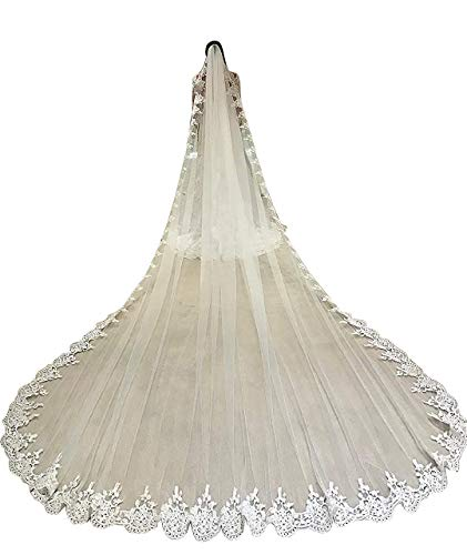 Fenghuavip Cathedral Wedding Veils for Bride 1 Tier Full Lace Edge with Comb