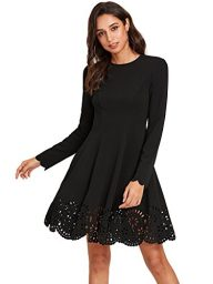 ROMWE Women's Scalloped Hem Stretchy Knit Flared Skater A-line Dress