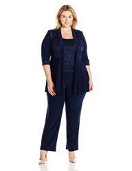 R&M Richards Women's Plus Size Lace Pant Set