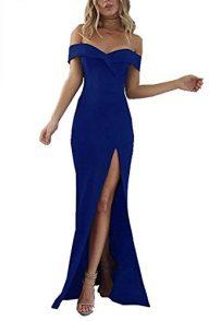 PRETTYGARDEN Women's 2019 Off Shoulder Side Split Slim Evening Maxi Party Dress