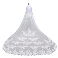 ULTNICE Lace Bridal Wedding Veil Mantilla with Comb (White)