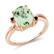 Gem Stone King 2.13 Ct Oval Green Prasiolite Black Diamond 14K Rose Gold Ring (Available in size 5,6,7,8,9)