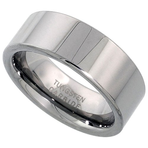 Sabrina Silver Tungsten Carbide 8 mm Pipe Cut Wedding Band Ring for Men and Women Polished Comfort fit, Sizes 7 to 14