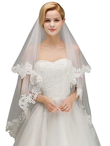 MisShow Wedding Bridal Veil Lace Appliques Short 2 Tier Wedding Veil with Comb