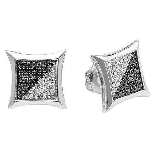 Dazzlingrock Collection 0.25 Carat (ctw) Black & White Round Diamond Micro Pave Setting Kite Shape Stud Earrings 1/4 CT
