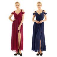 YiZYiF Women's Chiffon V Neck Flare Flowy Long Maxi Bridesmaid Formal Party Dress