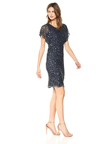Adrianna Papell Women's Fully Beaded Cocktail Dress with Flutter Sleeves