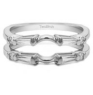 TwoBirch Sterling Silver Baguette and Round Solitaire Enhancer With Cubic Zirconia (0.46 ct.)