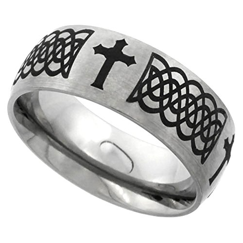 Sabrina Silver 8mm Titanium Wedding Band Celtic Knot Ring Domed with Crosses Brushed Finish Comfort Fit, Sizes 7-14