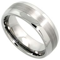 Sabrina Silver Tungsten Carbide 8 mm Domed Wedding Band Ring Wide Center Stripe Etching, Sizes 7 to 14