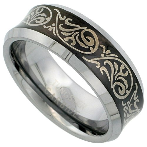 Sabrina Silver Tungsten Carbide 8 mm Concaved Wedding Band Ring Etched Tribal Pattern Blackened Finish Beveled Edges, Sizes 7 to 14