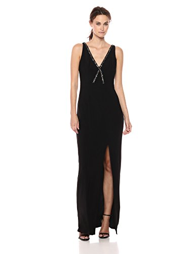 Adrianna Papell Women's Beaded V Neckline Matte Jersey Long Gown with Side Slit