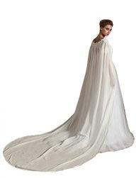 Cibelle Womens Long Lace Chiffon Wedding Cloak Bridal Cape with Pearls