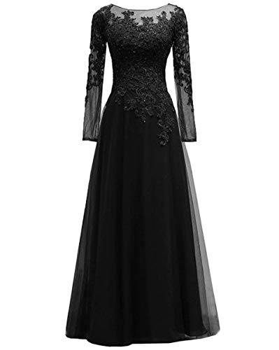SUMNUS Plus Size Lace Tulle Appliques Beads Mother of The Bride Dress Elegant Evening Gown