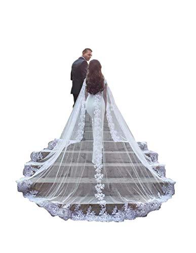 kelaixiang Women Veil Cape Tulle Lace Applique 3M 4M Wedding Capes Bridal Wraps Long Train Shawls Cloak