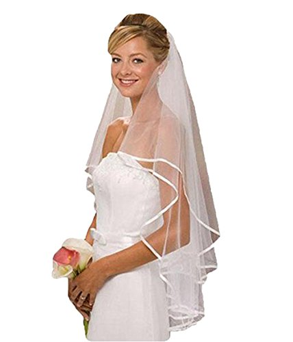 The Peachess White Ivory Bridal Veil Two Layer Ribbon Edge Wedding Veil with Comb