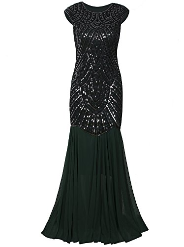 Vijiv Womens 1920s Inspired Cap Sleeve Beaded Sequin Gatsby Long Evening Prom Dress