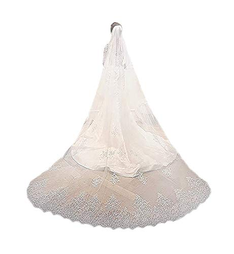 EllieHouse Women's Sequin Lace Wedding Bridal Veil With Comb S07