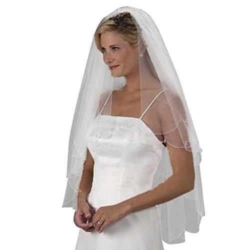 Shop Ginger Wedding 2T Shoulder Oval Bugle Beads Crystal Shape Drop Solloped Wedding Bridal Veil