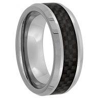 Sabrina Silver Tungsten Carbide 8 mm Flat Wedding Band Ring Black Carbon Fiber Inlay Beveled Edges, Sizes 7 to 14