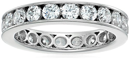 Platinum-Plated Sterling Silver Swarovski Zirconia Channel Set All-Around Band Ring