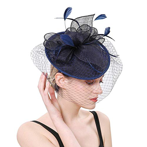 Hilary Ella Flax Net Face Veil Feather Fascinator for Women Cocktail Tea Party Derby Wedding Fascinators Hat