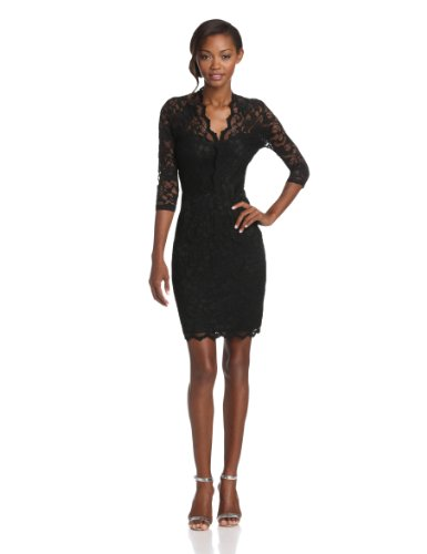 Karen Kane Women's V-Neck Lace Dress with Scalloped Trim