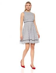 Calvin Klein Women's Sleeveless Cotton Eyelet Fit and Flare Dress