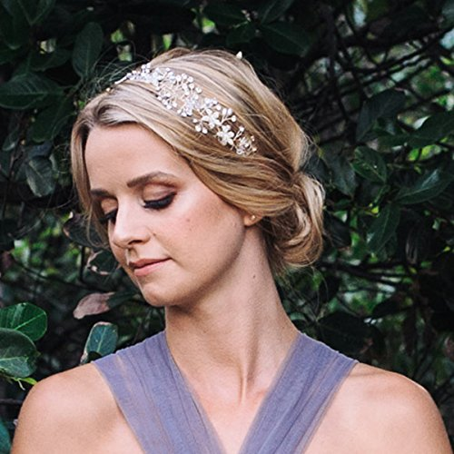 SWEETV Bohemian Headpiece Crystal Pearl Bridal Hair Vine Flower Halo Wedding Headband Tiara