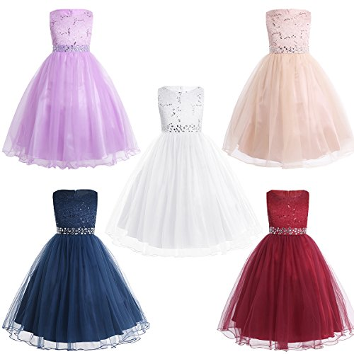 YiZYiF Kids Sequins Rhinestone Belt Embroidered Communion Pageant Wedding Party Flower Girls Dresses
