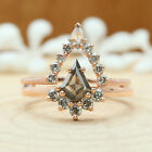 Salt And Pepper Kite Diamond 14K Solid Gold Ring Set Engagement Ring KD756-1