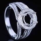 14K White Gold Semi Mount Women Natural SI/H Diamonds Engagement Wedding Ring